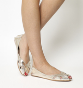 Office Faint Peep Toe Shoe GOLD LEATHER