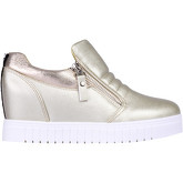 Krisp  Metallic Zipper Wedge Trainers {Gold }  women's Shoes (High-top Trainers) in Gold
