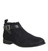 Ask the Missus Cotton Strap Low Boot BLACK SUEDE BLACK LEATHER