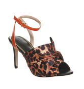Office Maverick Bow Ankle Strap Heels LEOPARD TEXTILE