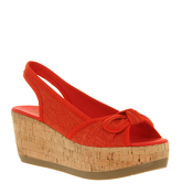 Blowfish Gyro Slingback Bow Wedge RED LINEN