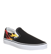 Vans Classic Slip On BLACK WHITE FLAME