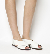 Office Deadline Cross Strap Peep Toe Shoes WHITE LEATHER