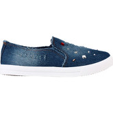 Krisp  Gemmed Denim Slip On Plimsolls {Dark Denim}  women's Shoes (Trainers) in Blue
