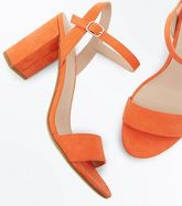 Orange Suedette Block Heel Sandals New Look