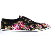 Krisp  Floral Lace Up Plimsolls {Black }  women's Shoes (Trainers) in Black