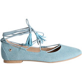 Krisp  Tassel Ankle Wrap Ballet Flats {Denim}  women's Shoes (Pumps / Ballerinas) in Blue