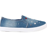 Krisp  Gemmed Denim Slip On Plimsolls {Light Denim}  women's Shoes (Trainers) in Blue