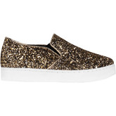 Krisp  Glitter Slip On Plimsolls {Gold}  women's Shoes (Trainers) in Gold