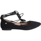 Krisp  Tassel Ankle Wrap Ballet Flats {Black}  women's Shoes (Pumps / Ballerinas) in Black