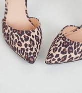 Stone Leopard Print 2 Part Court Shoes New Look