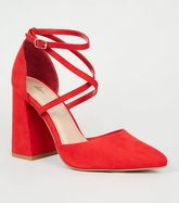 Red Suedette Strappy Block Court Shoes New Look