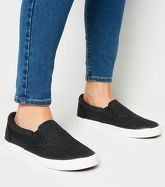 Black Glitter Slip On Trainers New Look
