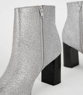 Silver Glitter Square Toe Heeled Ankle Boots New Look Vegan