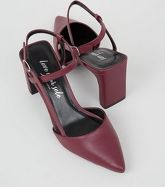 Dark Red Leather-Look Pointed Court Shoes New Look