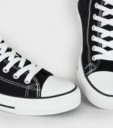 Black Canvas High Top Trainers New Look