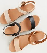 Black Leather-Look Flatform Footbed Sandals New Look Vegan