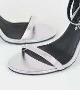 Silver Metallic 2 Part Flared Block Heels New Look Vegan