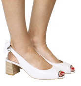 Office Marvel Peep Toe Bow Back Court WHITE LEATHER