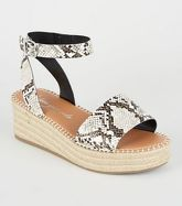 Wide Fit Stone Faux Snake Flatform Sandals New Look Vegan