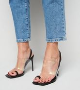 Black Leather-Look Clear Strap Stiletto Mules New Look