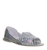 Office Liquorice Woven Peeptoe HOLOGRAPHIC LEATHER