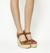 Office Ahoy Cross Strap Espadrille Wedge TAN SUEDE
