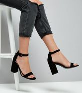 Black Suedette Barely There Block Heels New Look