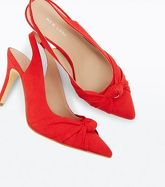 Red Suedette Knot Pointed Slingbacks New Look