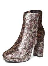 Womens Floral Velvet 'Anastasia' Ankle Boots- Multi Colour, Multi Colour