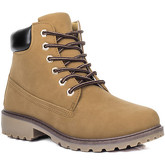 Spylovebuy  MORGAN Lace Up Cleated Sole Flat Combat Worker Walking Ankle Bo  women's Mid Boots in Brown