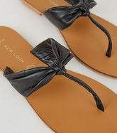 Wide Fit Black Leather Ruched Flip Flops New Look