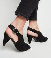 Wide Fit Black Suedette Cone Heel Shoe Boots New Look