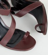 Dark Red Leather-Look Toe Strap Block Heels New Look