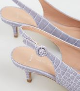 Wide Fit Lilac Faux Croc Kitten Heel Slingbacks New Look