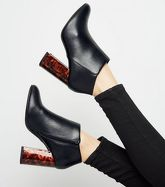 Wide Fit Black Faux Tortoiseshell Flared Heel Boots New Look