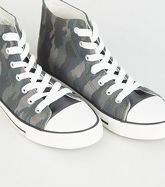 Khaki Camo Print Stripe Sole High Top Trainers New Look