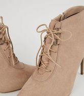 Light Brown Suedette Lace Up Pointed Shoe Boots New Look