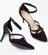 Black Comfort Flex Suedette Cross Strap Pointed Courts New Look