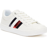 Tommy Hilfiger  Eco Leather Stripes Youth White Trainers  men's Shoes (Trainers) in White