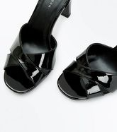 Black Patent Cross Strap Heeled Sandals New Look