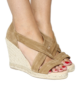 Office Holiday Cross Front Espadrille Wedge CAMEL SUEDE
