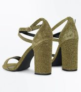 Gold Glitter Strappy Heeled Sandals New Look