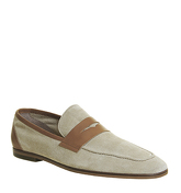 Ask the Missus Felix Penny Loafer BEIGE SUEDE TAN LEATHER