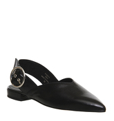 Office Follow Up Slingback Point BLACK LEATHER