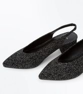 Wide Fit Black Velvet Glitter Pointed Sling Backs New Look