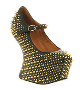 Jeffrey Campbell Prickly Wedge BLACK LEATHER GOLD SPIKE