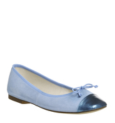 Office Farewell Square Toe Ballet BLUE SUEDE