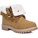 Spylovebuy  KINGA Lace Up Cleated Sole Shearling Flat Combat Worker Walking  women's Mid Boots in Brown