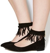 Office Deception Fringe Ankle Cuff Points BLACK SUEDE